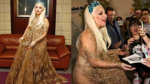 Gaga现身迪拜 着透视裙秀性感