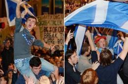 苏格兰独立公投现场:统独两派同时开始庆祝