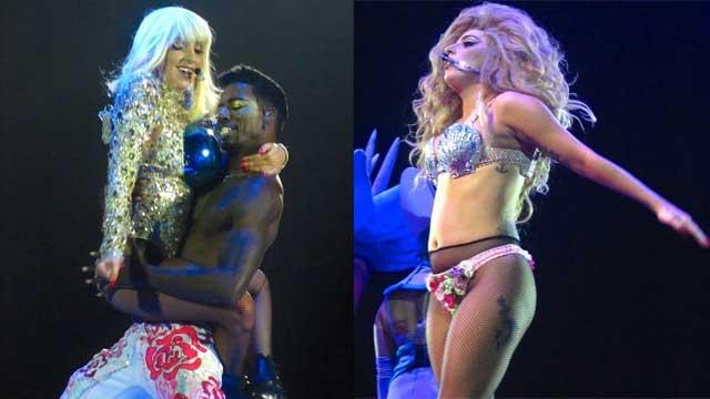 Lady Gaga比利时性感开唱 当众换衣服