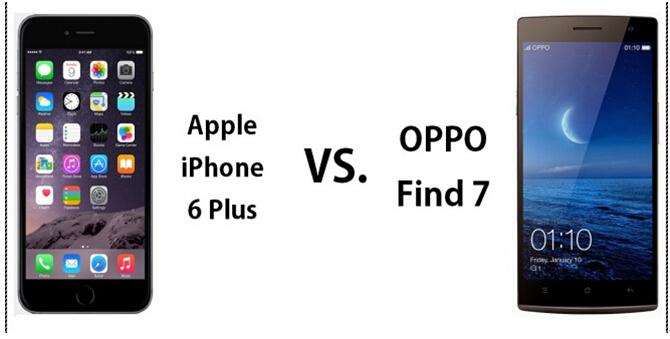 国货精品oppo find 7对决苹果iphone 6 plus图片