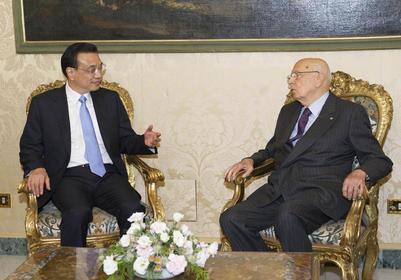 李克强见意总统:将继续鼓励中国企业赴意投资