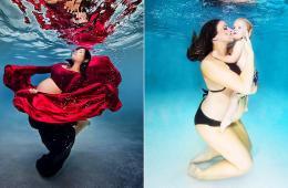 """美摄影师拍孕妇水下写真似""""美人鱼"""""""