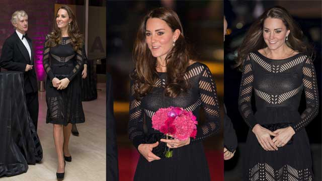凯特王妃穿镂空黑裙出席活动 小腹微隆显孕味
