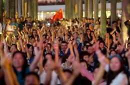 香港正义联盟等团体反占中活动打出支持警察口号