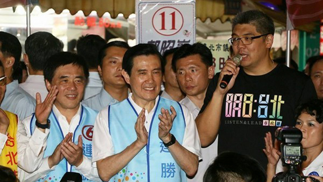 马英九陪连胜文台北闹市区拜票 抢救国民党选情