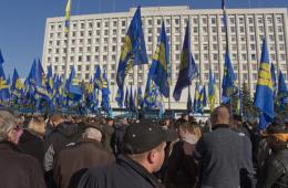 乌克兰民族主义者游行示威反对议会选举结果