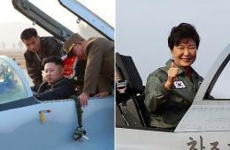 朝韩领导人登上战斗机照片同一日曝光