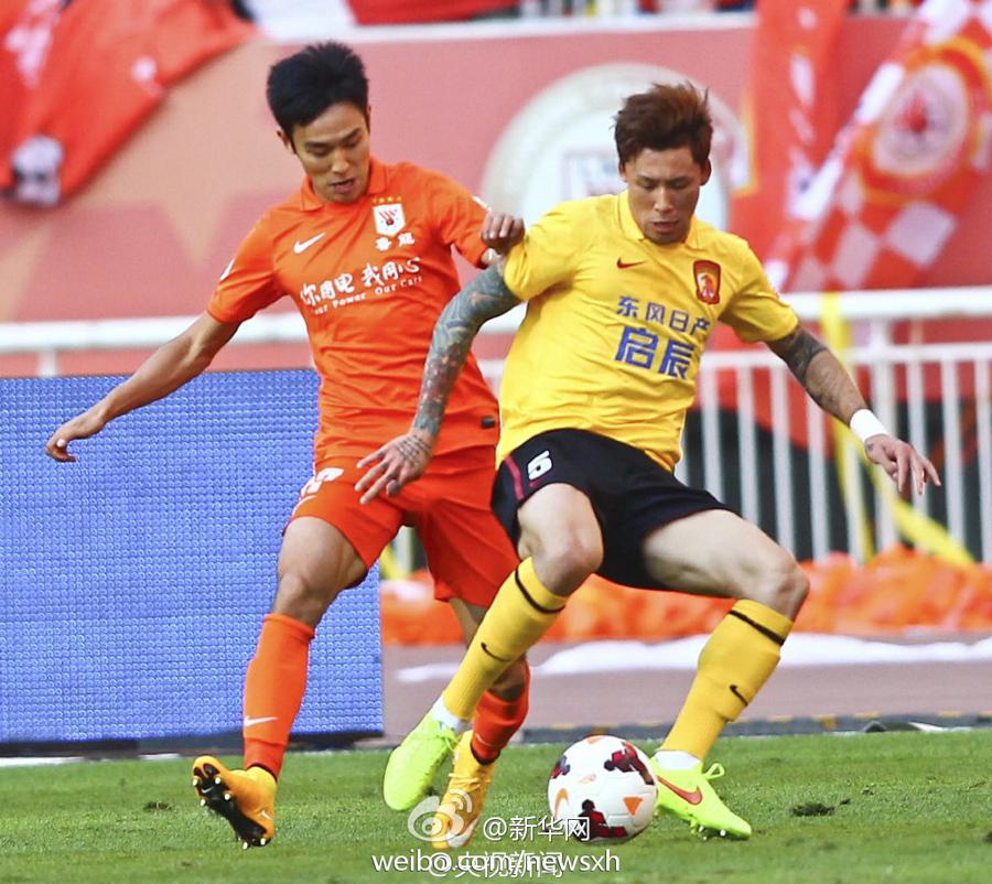 广州恒大1:1战平山东鲁能 夺得本赛季中超联赛