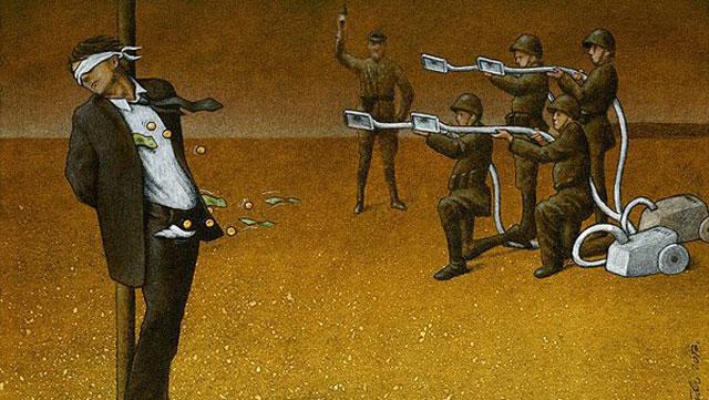 波兰画师创作超现实主义插画讽刺社会(图)
