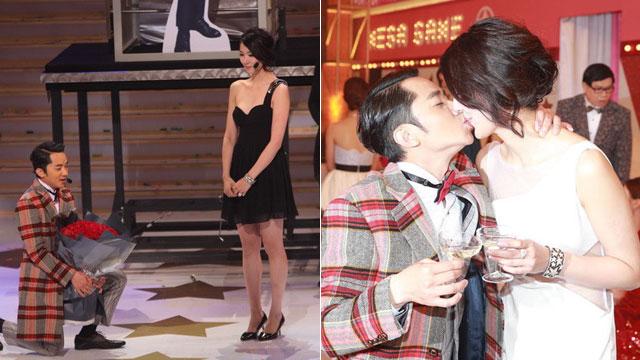 王祖蓝求婚成功 与爱人深情热吻喝交杯酒