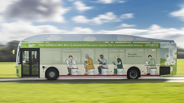 英国首辆生态公交车上路 以人类粪便为燃料