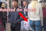 女模穿虚拟牛仔裤逛街