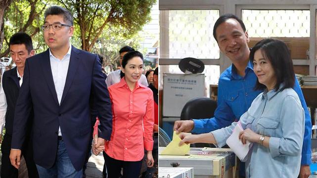 连胜文、朱立伦同携漂亮妻子投票 轻松面对选举