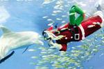 日本圣诞老人与海豚共舞