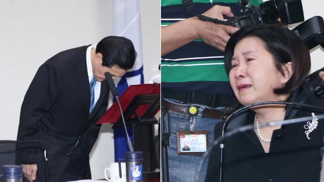 辞职现场 国民党女性中常委含泪不舍马英九
