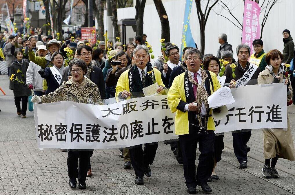 日律师举葵花穿豹纹游行 反对《特定秘密保护法》