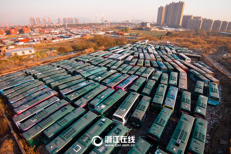 """杭州惊现公交车""""坟场"""""""