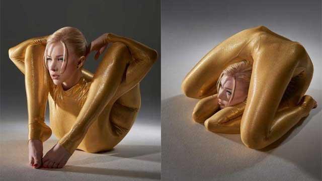 俄柔术美女拍日历展绝技 长腿缠绕全身