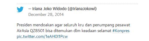 印尼第一夫人发推特称总统为亚航失联航班祈祷