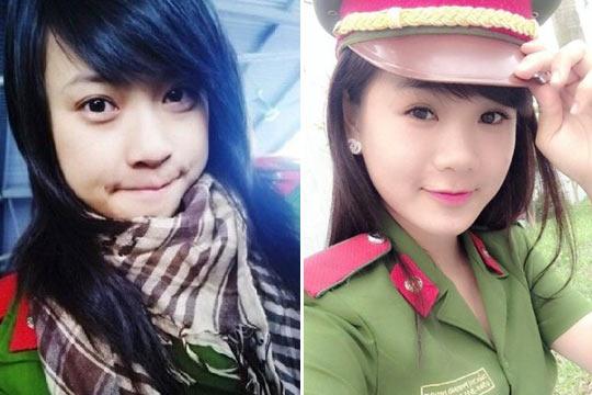 越南女兵卖萌可爱的一面