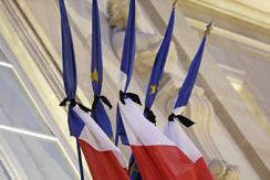 爱丽舍宫法国国旗绑黑丝带哀悼遇难者
