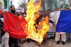 穆斯林焚烧法国国旗 抗议《查理周刊》