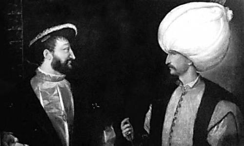 图片说明:      油画大师提香于1530年创作的《弗朗索瓦一世与苏莱曼大帝》,描绘了法国与奥斯曼土耳其帝国的蜜月期。