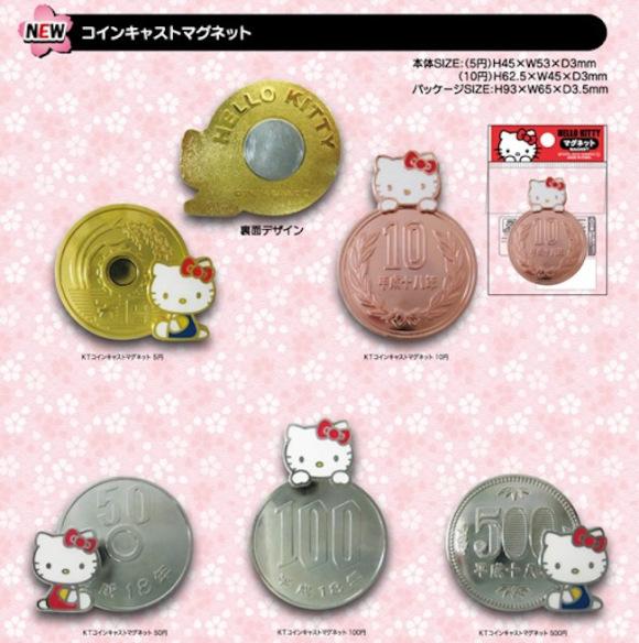日玩偶商家推出Hello Kitty图案磁性硬币套装