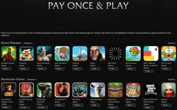 苹果App Store推广不含应用内购买的游戏