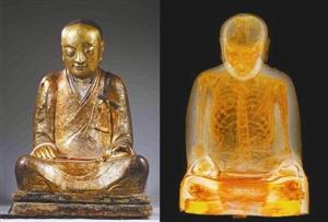 千年佛像内现和尚真身