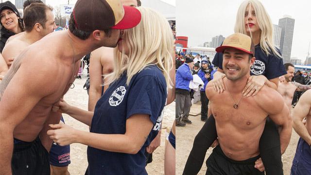 Gaga与未婚夫现身极地跳水活动 两人甜蜜热吻