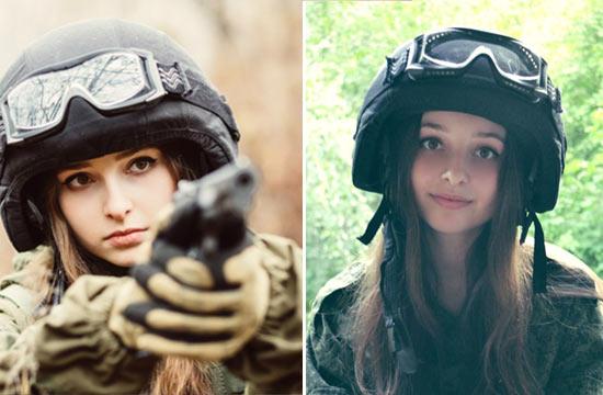 俄清纯小美女酷爱军装与大枪