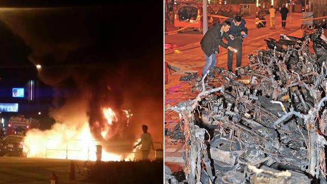 法籍男子纵火怒烧15部台北警车 现场烧成空架