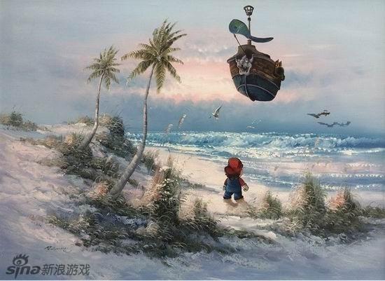 花海中的路易 国外玩家让游戏角色穿越进名画