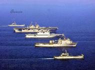 韩美军演 10余艘战舰压向滩头