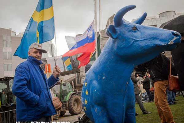 奶牛农开拖拉机欧洲议会外集会 抗议欧盟现行奶业政策