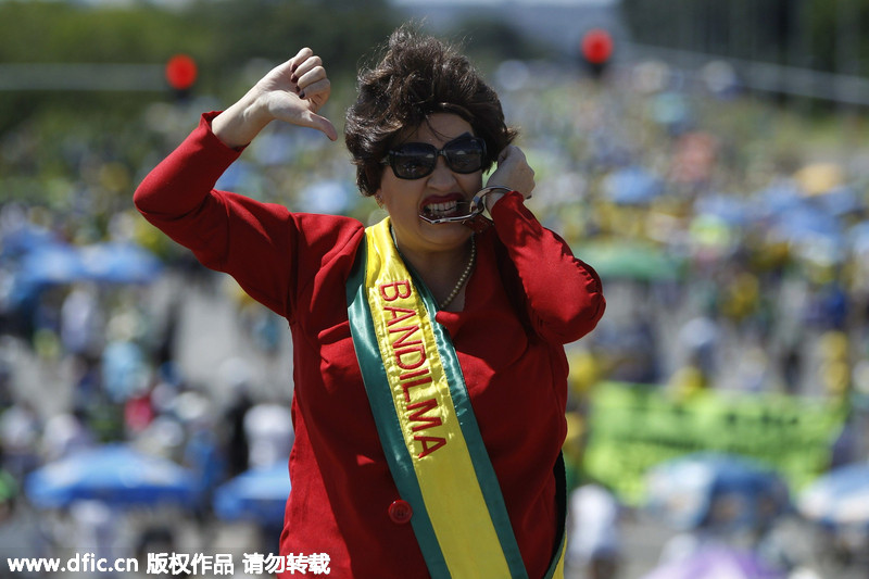 巴西举行大规模反政府示威 要求弹劾总统罗塞夫