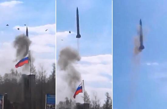 俄军S300导弹发射失败 出筒后砸地上