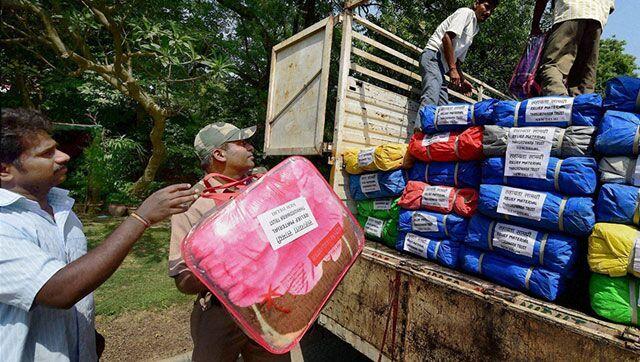 尼泊尔/印度一家慈善机构为尼泊尔提供的地震救援物资。