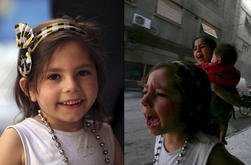 摄了这组画面.小女孩在炮弹袭击前后几秒钟的心情被相机捕捉了下图片