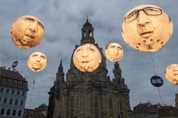 """G7领导人""""头颅""""遭悬挂画面"""