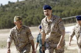 西班牙国王戎装亮相视察军队