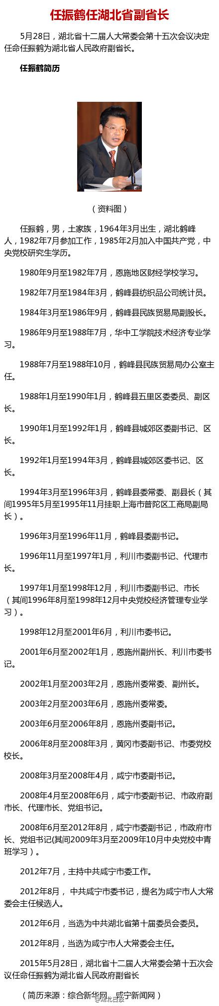 任振鹤任湖北省副省长(图/简历)