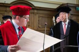 潘基文到访比利时 被鲁汶大学授予荣誉博士学