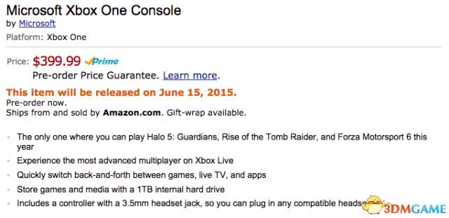 美国亚马逊上架1TB硬盘Xbox One 本月15日发售