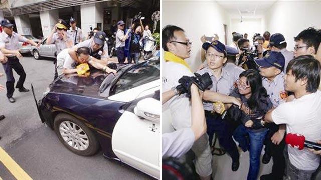 """台公民团体闯入""""立法院"""" 与警方爆发肢体冲突"""