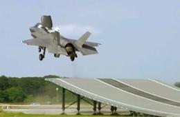 实拍美军F-35B首次滑跃起飞测试