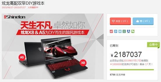炫龙众筹成功背后 互联网金融许可定制游戏本一个春天