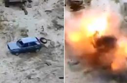 丹麦豹2部队用小汽车当靶瞬间炸飞