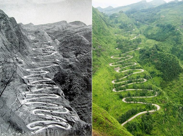 """左图:1945年3月,美国援华运送物资的车队途经贵州晴隆""""二十四道拐""""盘山公路时的情景(资料照片,陈亚林提供)。右图:2015年6月24日拍摄的二十四道拐""""。"""